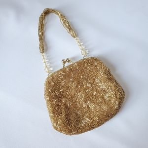Cach'e Gold Beaded Wristlet Coin Purse Like NEW!